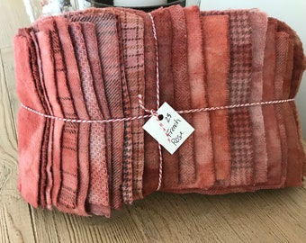 Hand Dyed Wool Fabric, 23 French Rose Fat 1/16 Sixteenths for Primitive Rug Hooking
