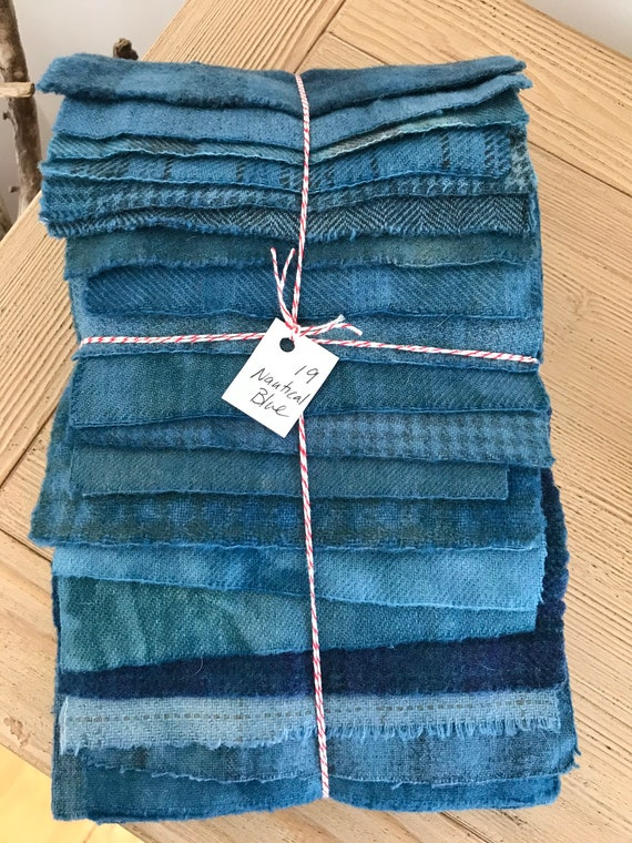 Hand Dyed Wool Fabric, 19 Nautical Blue Fat Sixteenths 1/16 for Primitive Rug Hooking