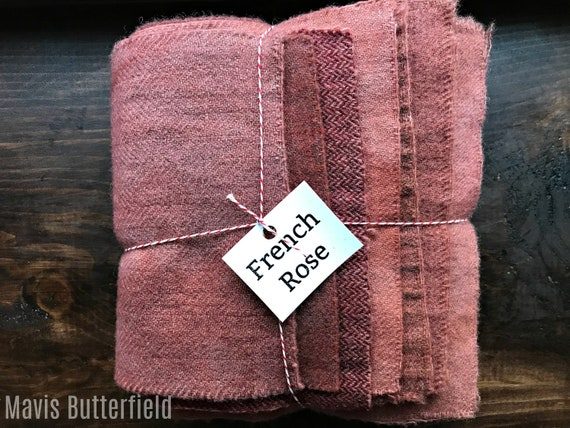 Hand Dyed Wool Fabric, 8 French Rose Fat 1/16 Sixteenths for Primitive Rug Hooking