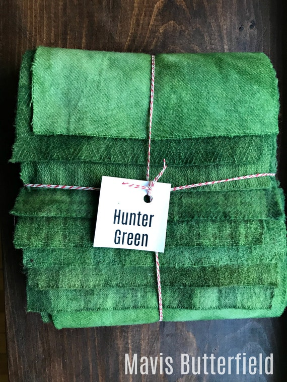 Hand Dyed Wool Fabric, 8 Hunter Green Fat 1/16 Sixteenth for Primitive Rug Hooking