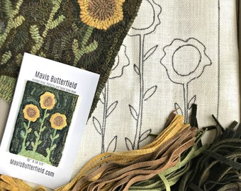 RUG HOOKING KIT - Sunflowers on Linen with Hand Dyed Wool