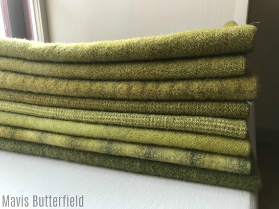 Hand Dyed Wool Fabric, 8 Old Green 1/4th Fat Quarters {2 Yards Total} for Primitive Rug Hooking