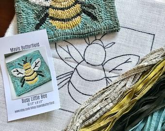 RUG HOOKING KIT - Busy Little Bee on Linen
