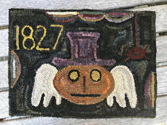 Primitive Folk Art Hooked Rug Tombstone Pumpkin Angel Early Style