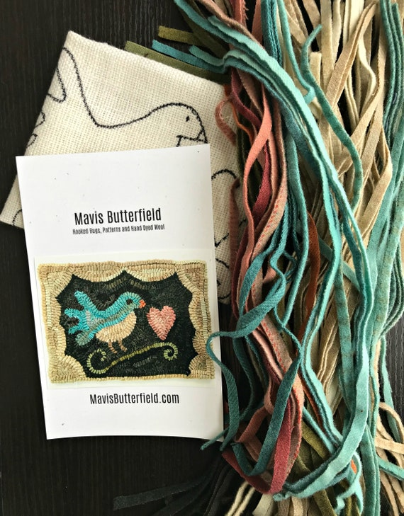 RUG HOOKING KIT - Blue Bird with Heart on Linen