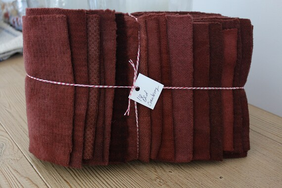 Hand Dyed Wool Fabric, 16 Old Cranberry Fat 1/16 Sixteenth for Primitive Rug Hooking