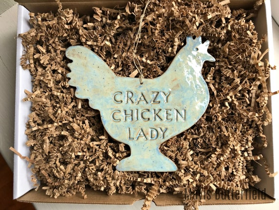 LARGE Crazy Chicken Lady Redware Pottery Ornament ~  Ocean Blue ~