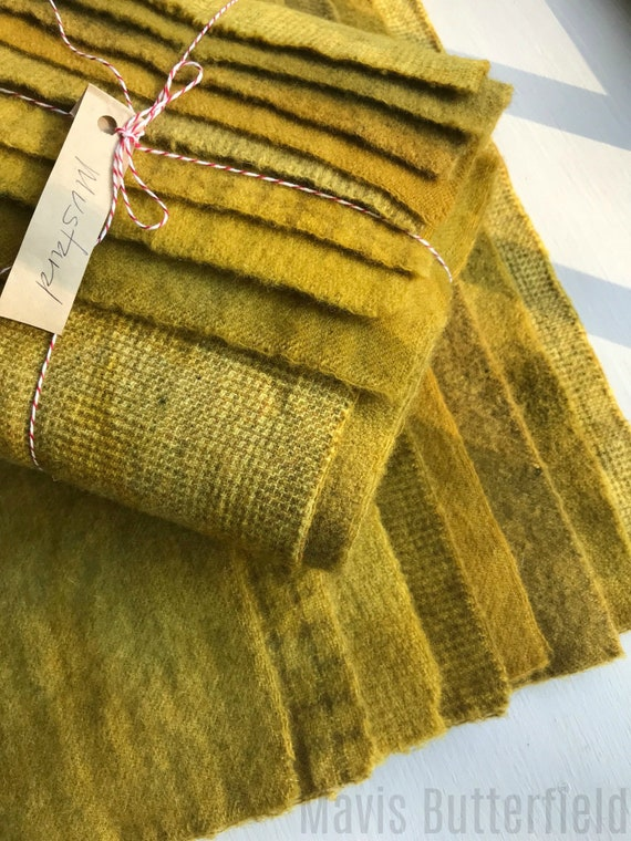 Hand Dyed Wool Fabric, 8 Old Mustard Fat 1/16 Sixteenth for Primitive Rug Hooking