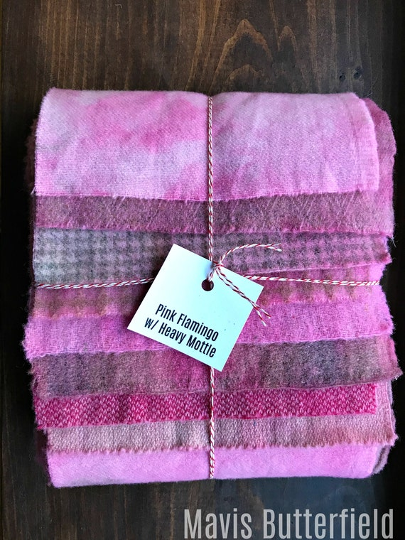 Hand Dyed Wool Fabric, 8 Flamingo Pink {Heavy Mottle} Fat 1/16 Sixteenth for Primitive Rug Hooking