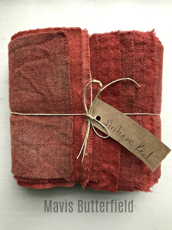 Hand Dyed Wool Fabric, 8 Antique Red Fat Sixteenths {1/16} for Primitive Rug Hooking