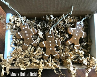 Set of 3 Gingerbread Redware Pottery Ornaments