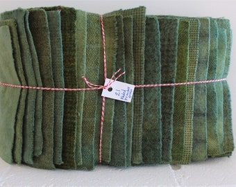 Hand Dyed Wool Fabric, 21 Primitive Green Fat 1/16 Sixteenth for Primitive Rug Hooking