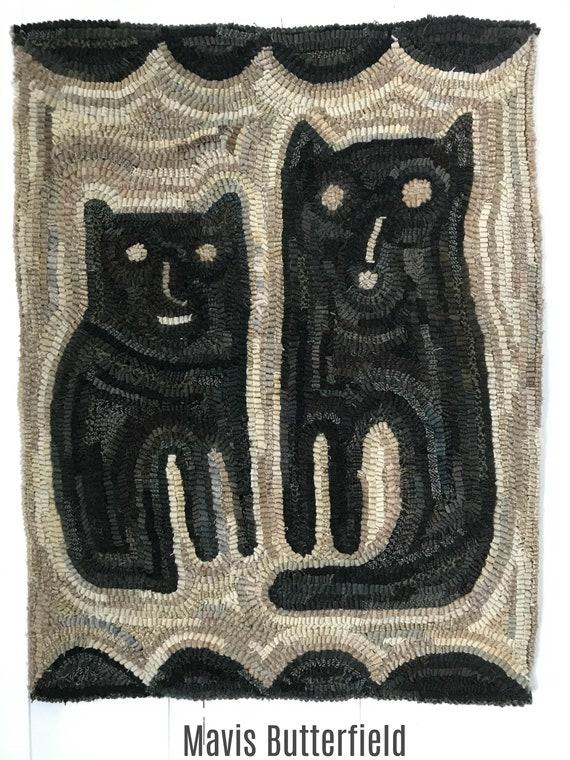 Primitive Cat Folk Art Wool Large Twin Kitties Hooked Rug ~ Early Style ~