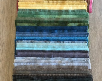 54 Assorted Fat 1/16 Sixteenth Hand Dyed Wool Fabric for Primitive Rug Hooking ~ Stash Builder ~ Sampler