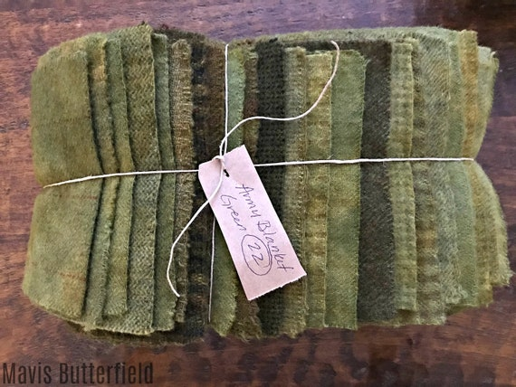Hand Dyed Wool Fabric, 22 Army Blanket Green Fat 1/16 Sixteenth for Primitive Rug Hooking
