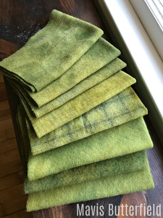 Hand Dyed Wool Fabric, 8 Army Green Fat Eighths 1/8th for Primitive Rug Hooking