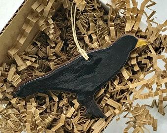 Rustic Black Crow Raven Redware Pottery Ornament