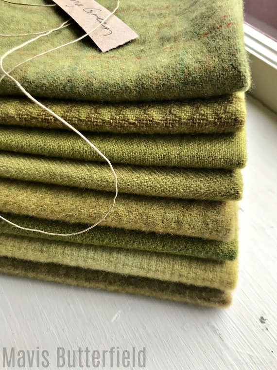 Hand Dyed Wool Fabric, 8 Spring Green Fat Eighths for Primitive Rug Hooking