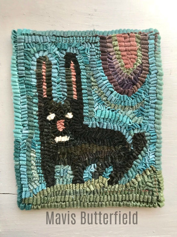 Black Funny Bunny Primitive Folk Art Wool Hooked Rug with Robin's Egg Blue Background