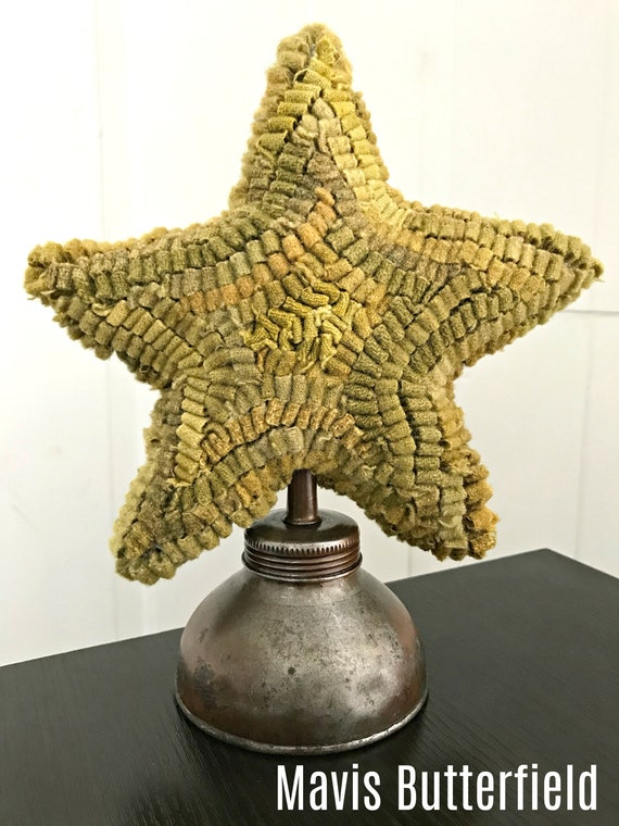 Primitive Wool Hooked Rug Star Make Do on an Antique Oil Can