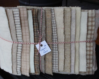 Hand Dyed Wool Fabric, 16 Creams and Tans Fat 1/16 Sixteenth for Primitive Rug Hooking