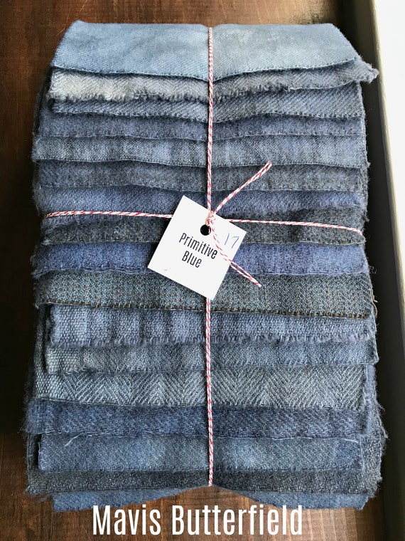 Hand Dyed Wool Fabric, 17 Primitive Blue Fat 1/16 Sixteenth for Primitive Rug Hooking