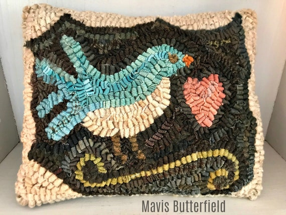 Primitive Folk Art Wool Hooked Rug Blue Bird  PILLOW