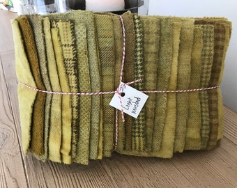 Hand Dyed Wool Fabric, 22 Light Mustard Fat 1/16 Sixteenth for Primitive Rug Hooking