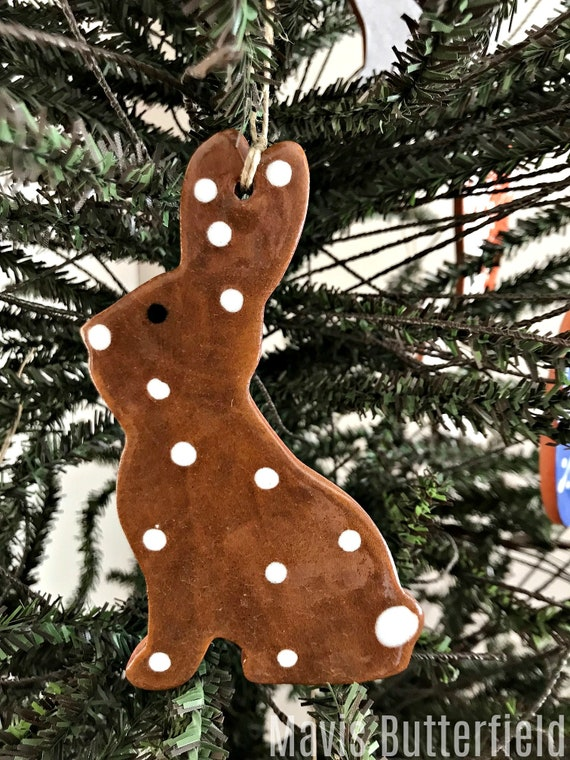Chocolate Brown Easter Bunny with Polka Dots  Redware Pottery Ornament