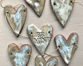 Rustic Redware Pottery ~ BE MINE Ocean Blue Hearts Banner ~ Garland ~ Perfect for Valentine's Day or a Birthday