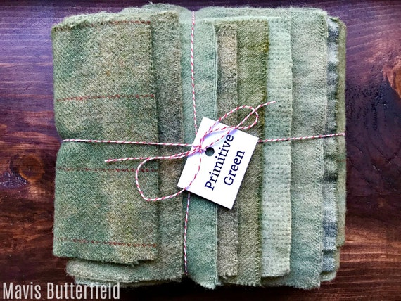 Hand Dyed Wool Fabric, 8 Primitive Green Fat 1/16 Sixteenth for Primitive Rug Hooking
