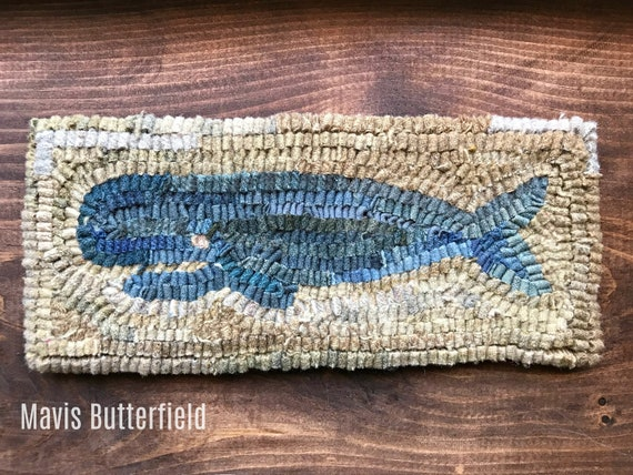Primitive Hooked Wool Whale Rug New England Nantucket Folk Art - Sand Background