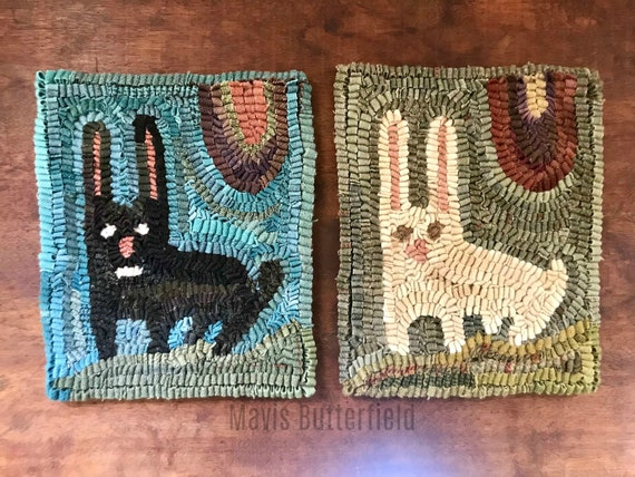 Rug Hooking Pattern Funny Bunny on Linen