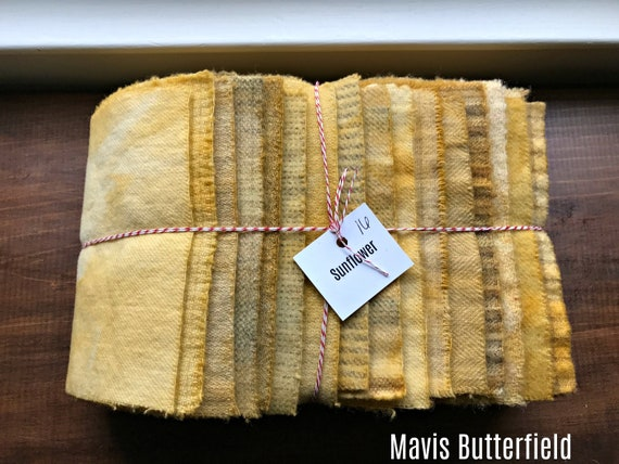 Hand Dyed Wool Fabric, 16 Sunflower Fat 1/16 Sixteenth for Primitive Rug Hooking