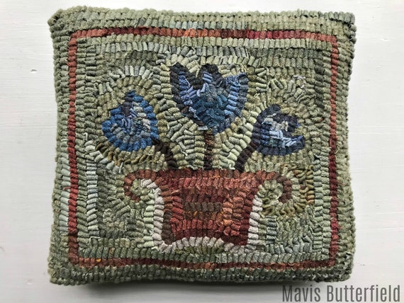 Primitive Folk Art Wool Hooked Rug Tulip Basket Pillow
