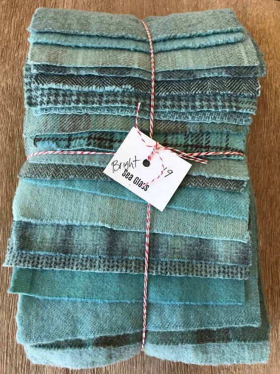 Hand Dyed Wool Fabric, 19 BRIGHT Sea Glass Blue Fat 1/16 Sixteenth for Primitive Rug Hooking