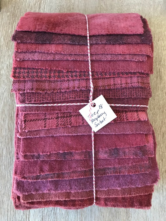 Hand Dyed Wool Fabric, 18 Deep Raspberry Sorbet Fat 1/16 Sixteenth for Primitive Rug Hooking