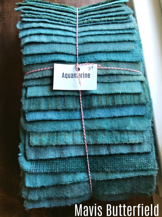 Hand Dyed Wool Fabric, 17 {Drab} Aquamarine Blue Fat 1/16 Sixteenth for Primitive Rug Hooking
