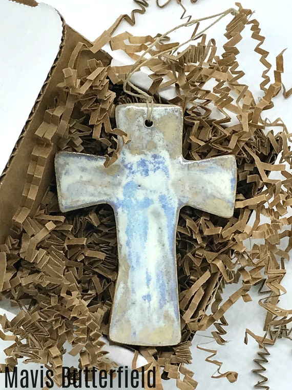 Rustic Cross Redware Pottery Ornament in Ocean Blue