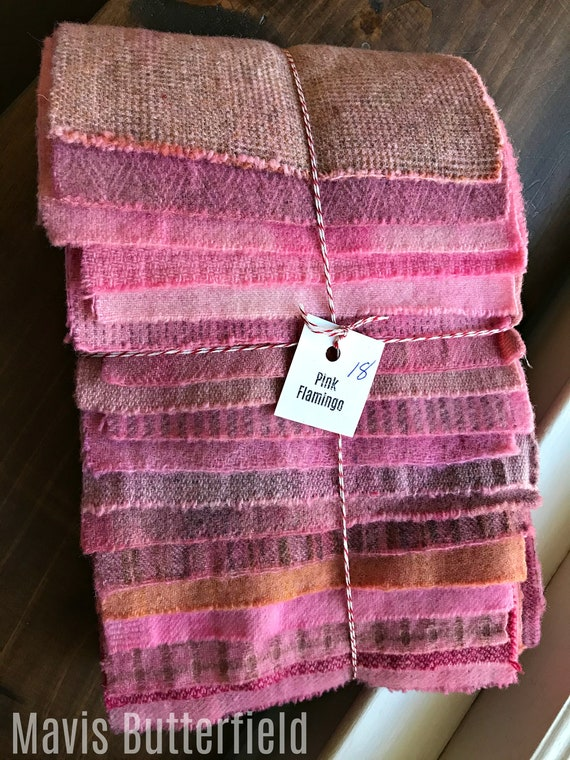Hand Dyed Wool Fabric, 18 Flamingo Pink Fat with Flecks 1/16 Sixteenth for Primitive Rug Hooking