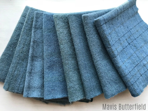 Hand Dyed Wool Fabric, 8 Worn Denim Blue Fat Eighths for Primitive Rug Hooking