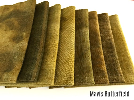 Hand Dyed Wool Fabric, 8 Fall Harvest Fat 1/8th Eighth Bundle for Primitive Rug Hooking