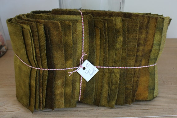 Hand Dyed Wool Fabric, 23 Fall Harvest Fat 1/16 Sixteenth Bundle for Primitive Rug Hooking