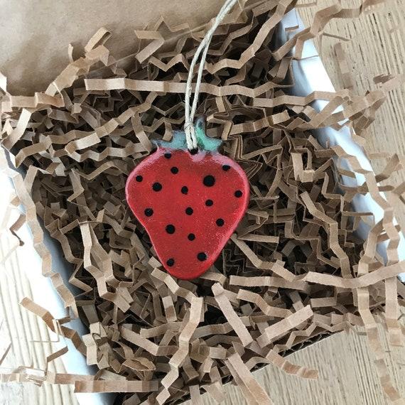 Handmade Redware Strawberry Pottery Ornament