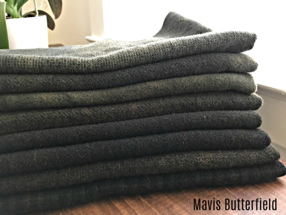Hand Dyed Wool Fabric, 8 Antique Black Fat Quarters 1/4 Yard {2 Yards Total} for Primitive Rug Hooking