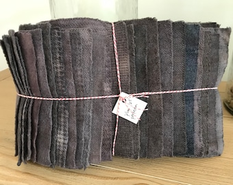 Hand Dyed Wool Fabric, 25 Plum Perfection Fat 1/16 Sixteenth for Primitive Rug Hooking