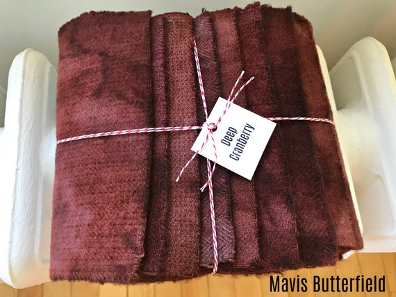 Hand Dyed Wool Fabric, 8 DEEP Cranberry Fat 1/16 Sixteenth for Primitive Rug Hooking