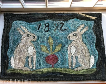 Folk Art Primitive Wool Hooked Bunny Rug ~ Hilda and Mabel's Prize Winning Beet