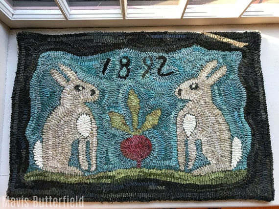 Folk Art Primitive Wool Hooked Bunny Rug ~ Hilda and Mabel's Prize Winning Beet