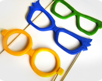 Plastic Photobooth Props for Wedding Photo Booth - 3 piece set- Color plastic Glasses on sticks